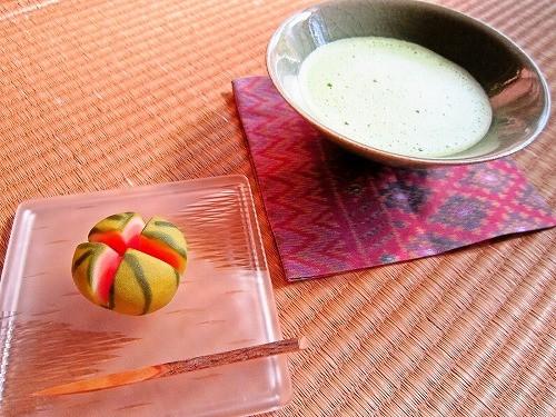 西瓜割(梅花亭)と抹茶